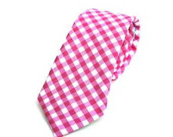 "Men's Tie - Hot Pink Fuchsia Gingham - Magenta and White Checks - Slim 3"" Width - In Stock"