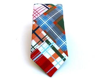 Boy's Tie - Madras Plaid - Red Orange Blue Green White Tan - Size 8-16 - In Stock