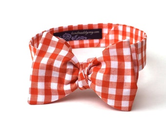 Men's Bow Tie - Orange Gingham - Orange and White Plaid Check - Adjustable - Traditional Butterfly or Diamond Point