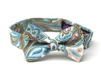 Boy's Bow Tie - Paisley - any size - Aqua Teal Blue, Ivory Cream, Green, Khaki Tan Bowtie