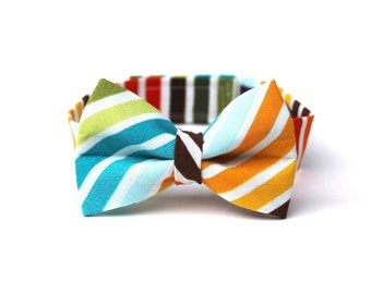 Baby Boy's Bow Tie - Multicolor Stripe - Brown Red Orange Yellow Green Blue White Multi Bowtie