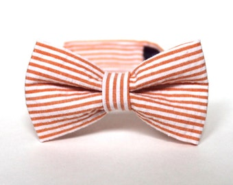 Boy's Bow Tie - Orange Seersucker Stripe - Citrus Coral Peach Pinstripe Tie