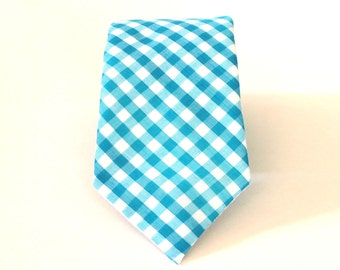 Turquoise Gingham Tie mens necktie Aqua Gingham Necktie blue and white checkered tie Teal Gingham Tie skinny ties extra long ties cotton tie