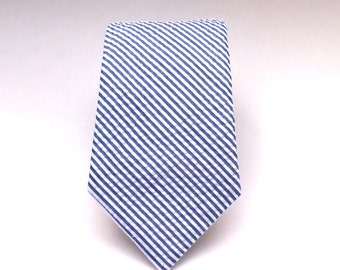 Men's Tie - Navy Blue Seersucker