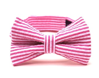Baby Boy's Bow Tie - Fuchsia Seersucker - Hot Pink and White Stripe Bowtie