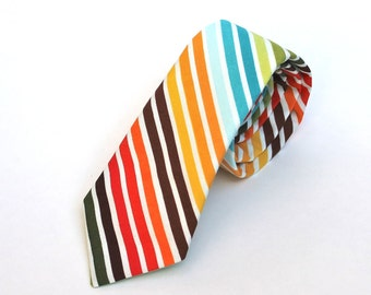 Men's Tie - Multicolor Stripe - Brown, Red, Orange, Blue, Green, Yellow, and White mens neckties Striped Tie multicolor tie Red Striped Tie