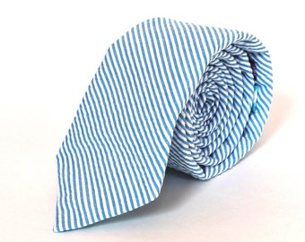 Men's Tie - Turquoise Seersucker - Aqua Blue and White Stripe Necktie