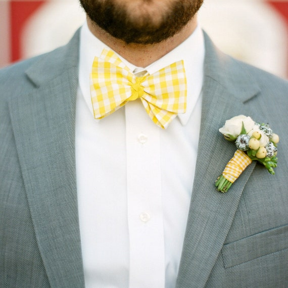Men's Bow Tie - Any Color Gingham - Adjustable