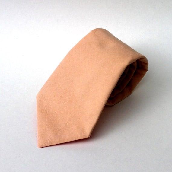 Men's Tie - Solid Peach - Ice Peach Necktie