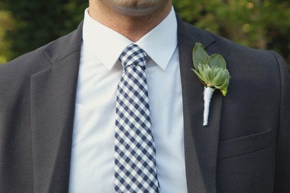 Men's Tie - Navy Blue Gingham - Navy Blue and White Checks - Navy Gingham Tie