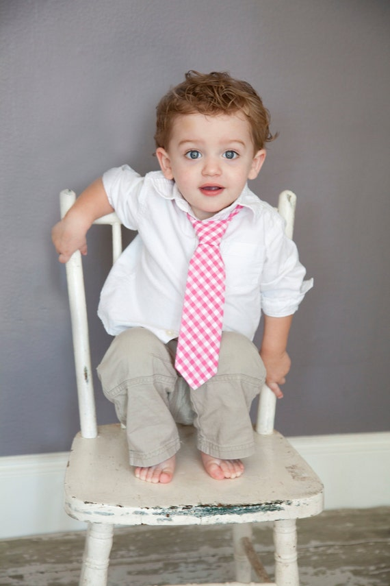 Boy's Tie - Hot Pink Fuchsia Gingham - size 2T-4T - In Stock