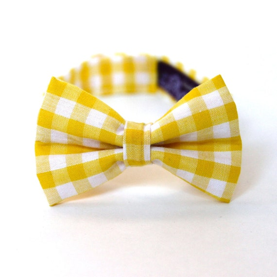 Boy's Bow Tie - Yellow Gingham - Size 6-10 - In Stock - Yellow and White Checks