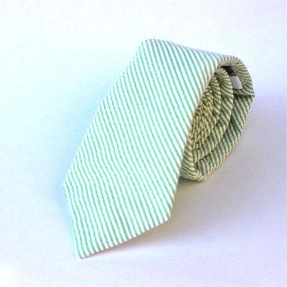 Men's Tie - Green Seersucker - Light Green and White Stripe Necktie