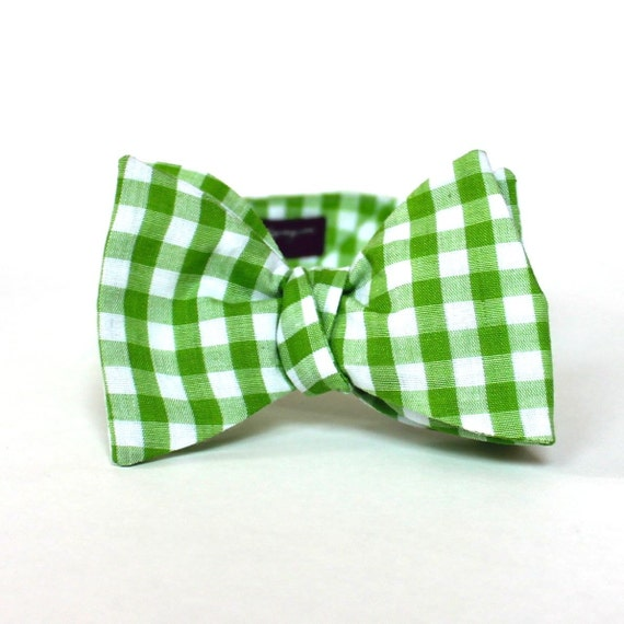Men's Bow Tie - Lime Green Gingham - Apple Green and White Plaid Check - In Stock