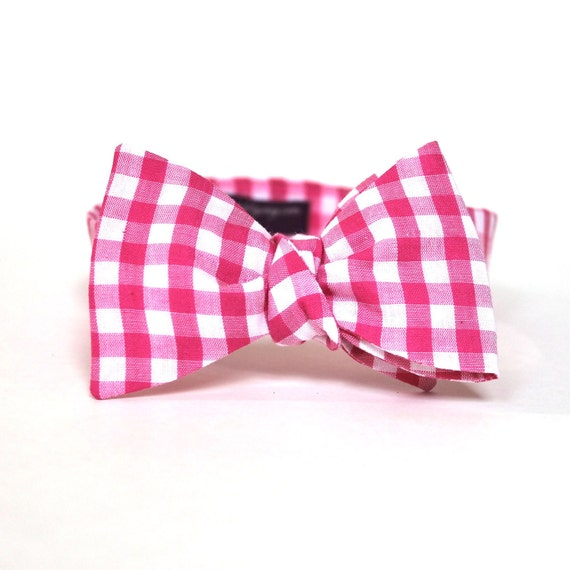 Men's Bow Tie - Fuchsia Gingham - Hot Pink and White Checks Bowtie - In Stock