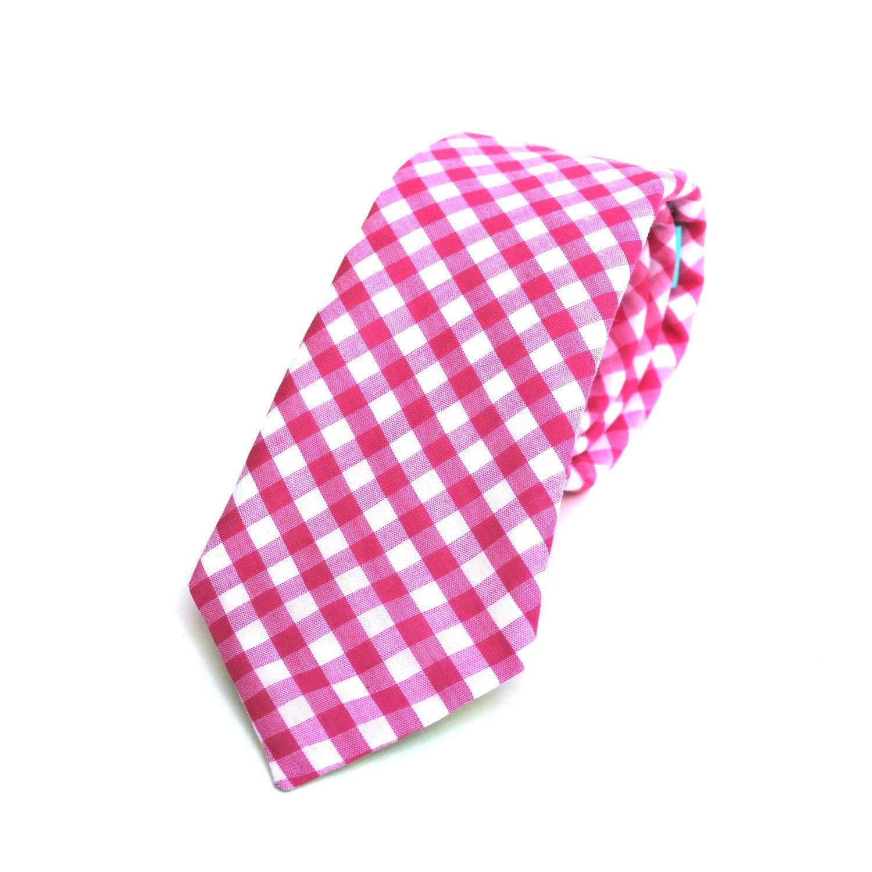 s tie pink fuchsia gingham magenta and white