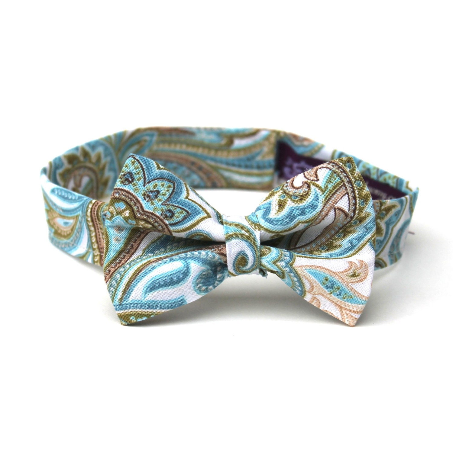 baby boy s bow tie paisley any size aqua teal blue