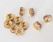 5mm Light Amethyst Swarovski Crystal Rondelle Gold Plated Spacers Set of 10