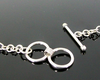 Sterling Silver Bali Toggle Clasp with Double Ring and Coiled Ends