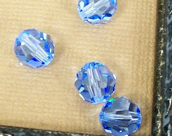 8mm Faceted Round Swarovski Crystals Light Sapphire Blue Set of 4