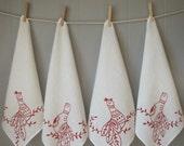 Organic Linen Napkins - Scandinavian Folk Birds - Set of Four Cloth Napkins - DInner Napkins