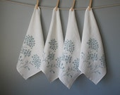 Linen Napkins - Organic Linen - Queen Anne's Lace Design - Set of Four Cloth Napkins - Hostess Gift