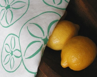 Sand Dollar Tea Towel- Organic Linen- Screen Printed Dish Towel