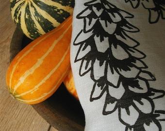 Organic Linen Tea Towel - Hand Screen Printed with Pine Cone Design -  Dish Towel