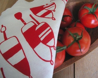 Dish Towel , Screen Printed  Lobster Buoy Tea Towel - Organic Linen Kitchen Towel