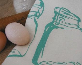 Dish Towel , Tea Towel Organic Linen , Mason Jar , Screen Printed Kitchen Towel