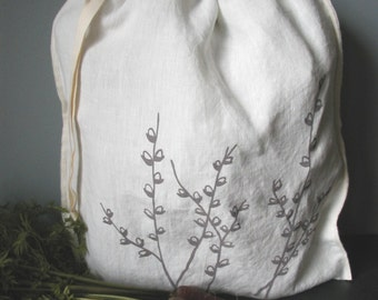 Cloth Gift Bag, Organic Linen Drawstring Produce Bag - Hand Screen Printed with Pussy Willow Design
