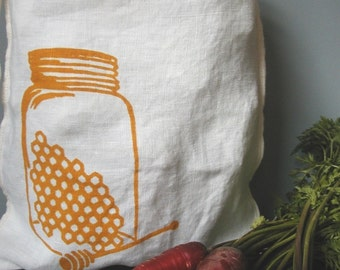 Produce Bag - Organic Linen - Drawstring Bag - Screen Printed - Honey Jar - Gift Bag- Project Bag- Produce Bag