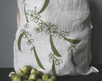 Reuseable Produce Bag - Organic Linen Bag with Drawstring - Screen Printed - Peas Design - Gift Bag