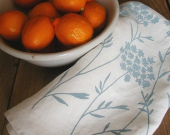 Tea Towel - Organic Linen Kitchen Towel - Queen Anne's Lace - Hand Screen Printed Dish Towel - Hostess Gift
