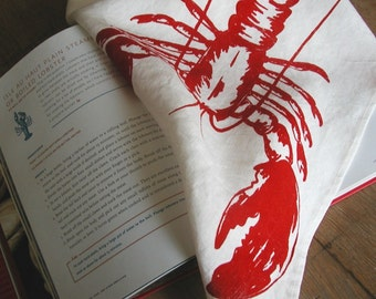 Tea Towel , Lobster Kitchen Towel , Organic Linen , Screen Printed Dish Towel