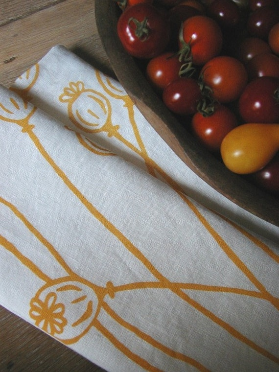 Linen Tea Towels - Set of Two Screen Printed Dish Towel - Poppies - Set of Seconds - Kitchen Towel