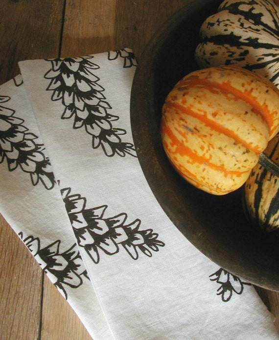 Set of Seconds-Two Organic Linen Towels-Pine Cones