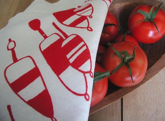 Lobster Buoy Tea Towel - Organic Linen- Screen Printed Dish Towel