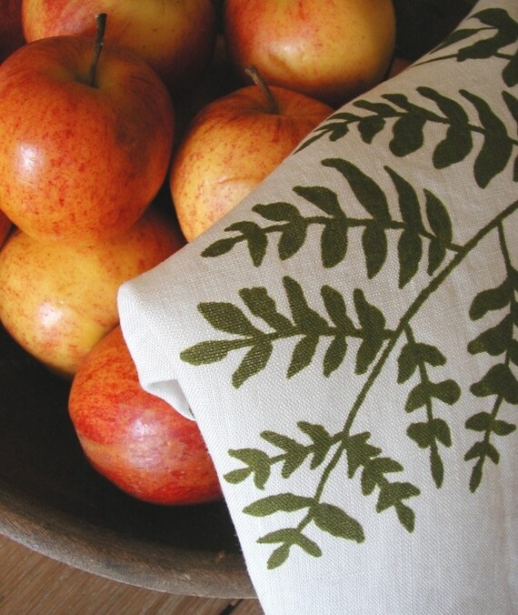 Fern Tea Towel- Organic Linen