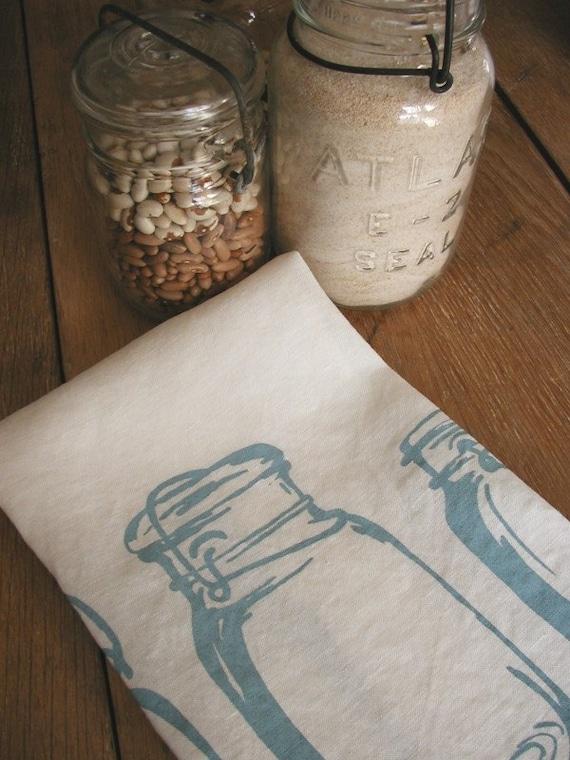 Tea Towel-Organic Linen- Mason Jars-Hand Screen Printed Dish Towel