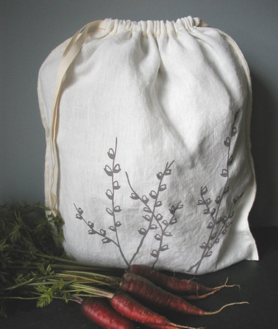 Organic Linen Drawstring Produce Bag- Hand Screen Printed with Pussy Willow Design