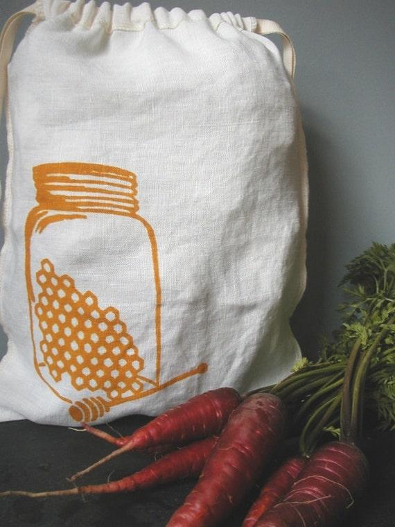 Produce Bag - Organic Linen - Drawstring Bag - Screen Printed - Honey Jar - Gift Bag- Project Bag- Produce Bag
