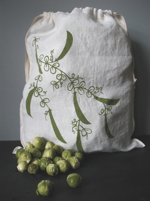 Reuseable Produce Bag - Organic Linen Bag with Drawstring - Screen Printed - Peas Design - Gift Bag