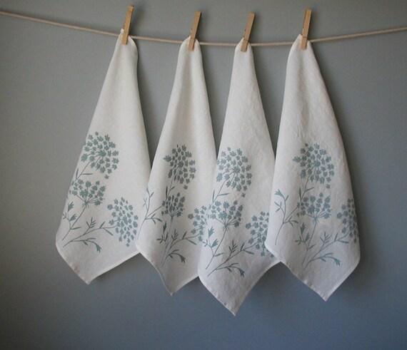 Linen Napkins - Organic Linen - Queen Anne's Lace Design - Set of Four Cloth Napkins - Hostess Gift