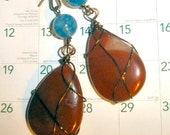 Lovely Carnelian earrings with Blue Dragon Vein Agate wire wrapped