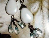 Genuine Jade earrings with Blue Quartz  - Snow over water