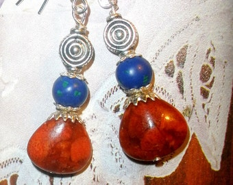 Red coral earrings Beach jewelry Lapis Lazuli with silver