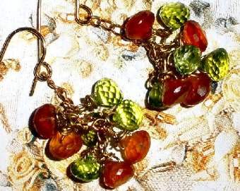Gorgeous Peridot earrings with Hessonite - Good Juju jewelry - gold plated
