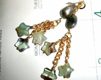Fluorite gemstone earrings - Falling Stars - on gold-plated earwires