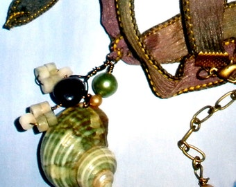 Beach jewelry - sea shell necklace with Amethyst and pearls on hand dyed ribbon